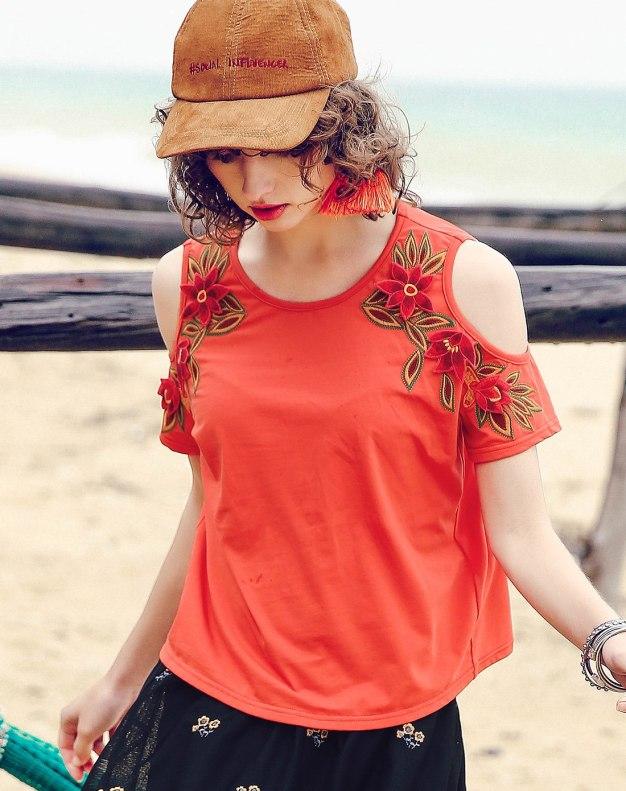 Red Off Shoulder Collar Short Sleeve Standard Women's T-Shirt
