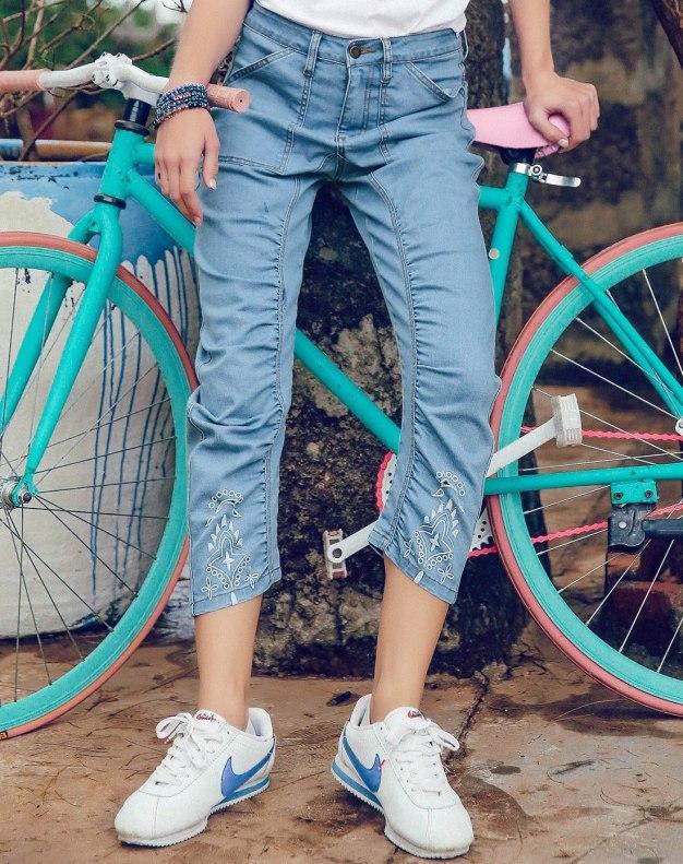 Blue Open Line 3/4 Length Women's Jeans