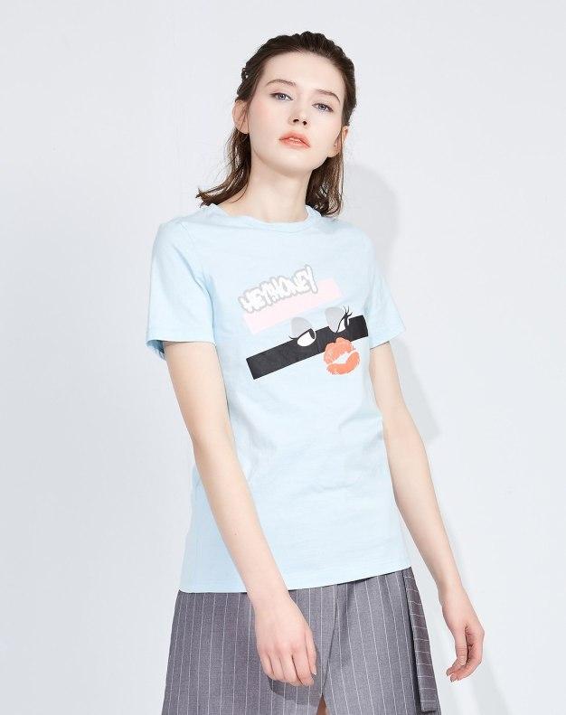 블루 추상적인 패턴 반팔 슬림핏 여성 티셔츠