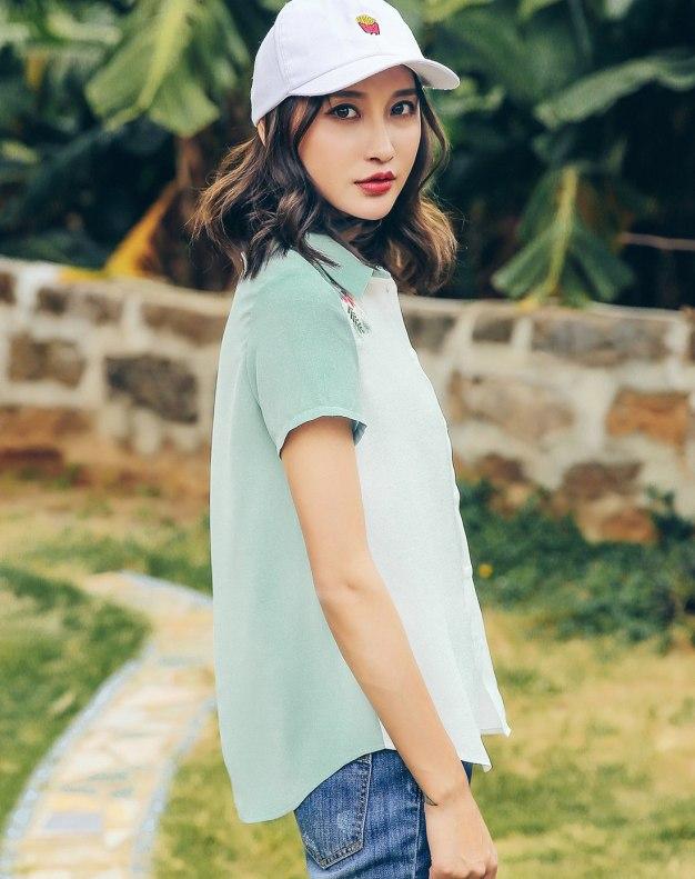 Green Lapel Single Breasted Short Sleeve Standard Women's Shirt