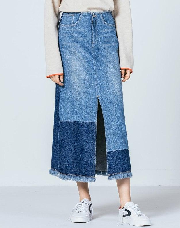 블루 미디엄 여성 A라인 드레스 스커트
