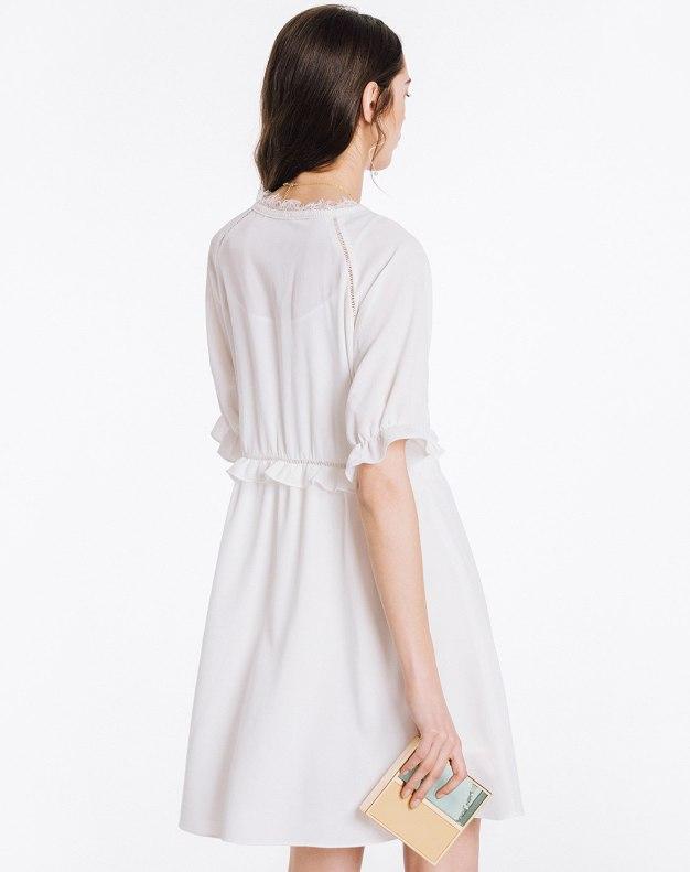 White V Neck Half Sleeve Loose Women's Dress