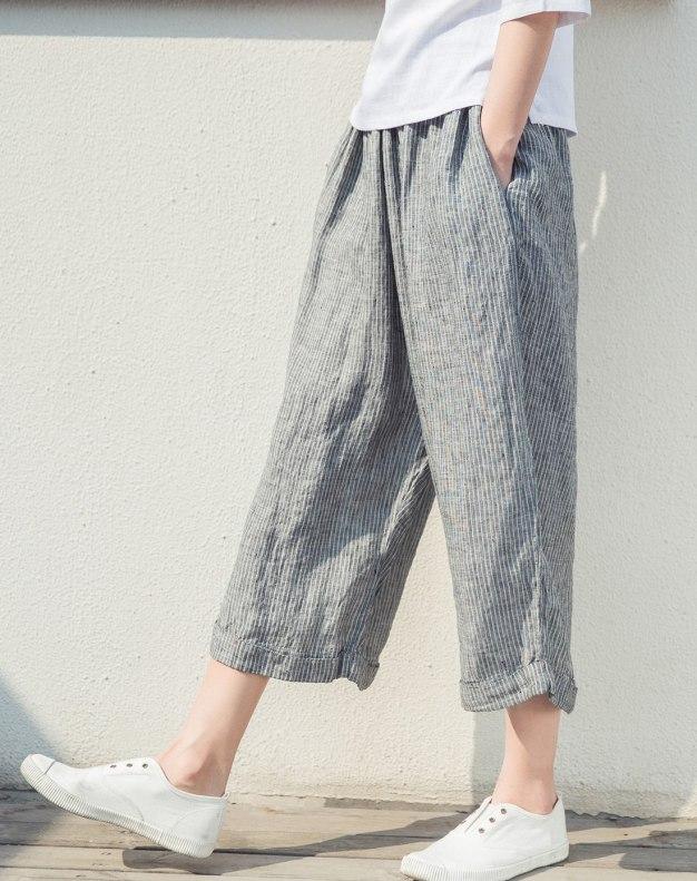 Gray 3/4 Length Women's Pants