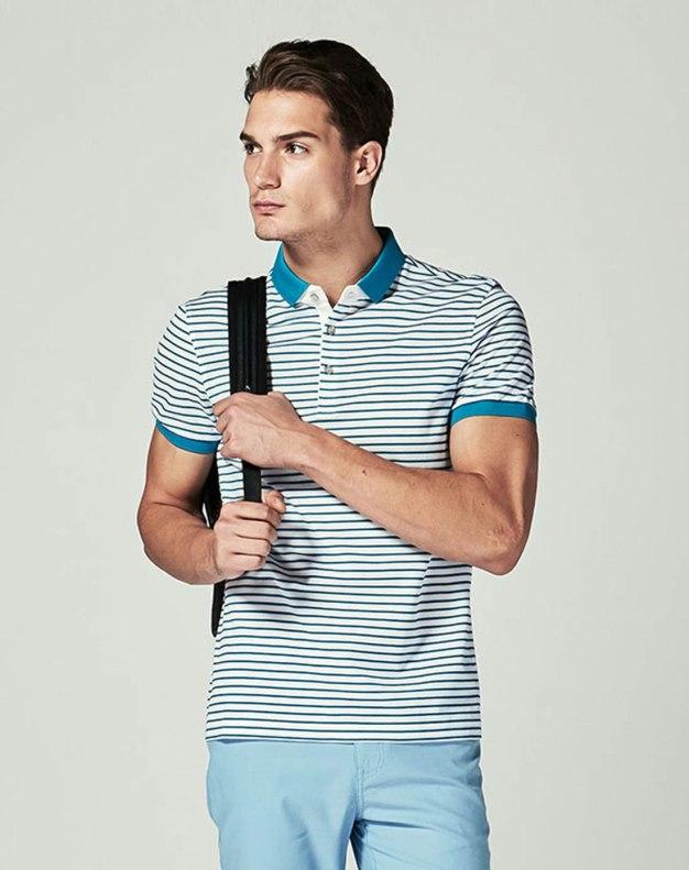 Blue Stripes Lapel Short Sleeve Standard Men's T-Shirt