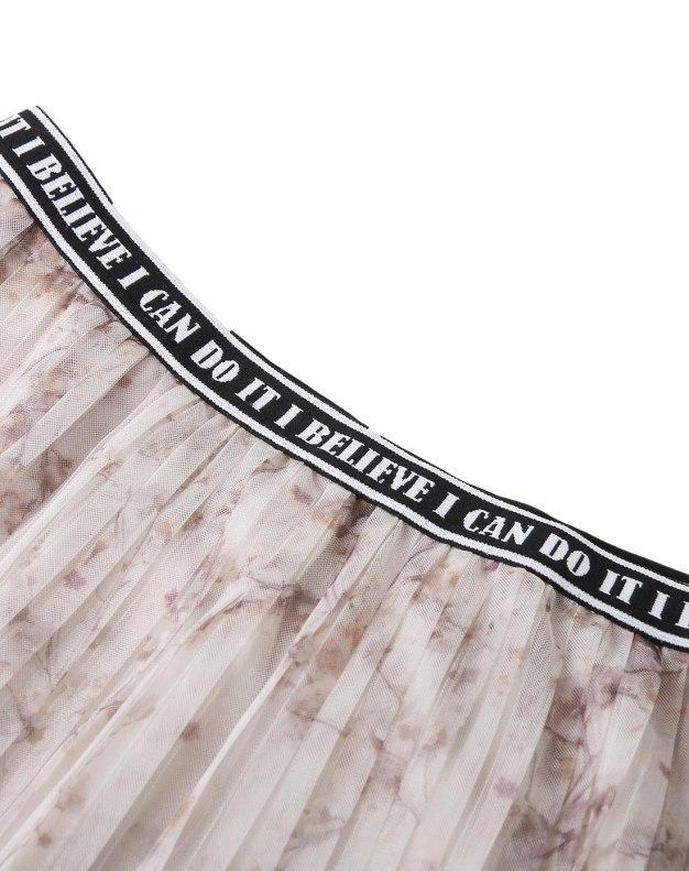 Camel 3/4 Length Women's Pleated Skirt