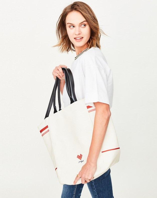 Beige Plain Bucket Bag Big Women's Tote