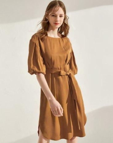 Round Neck Standard Women's Dress