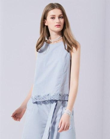 Blue Plain Round Neck Sleeveless Fitted Women's Shirt