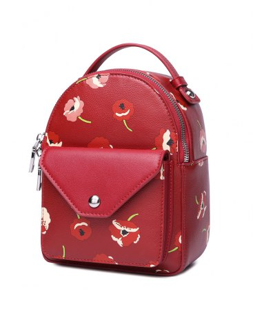 Red PU Medium Plant Women's Backpack