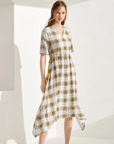 Yellow V Neck Standard Women's Dress