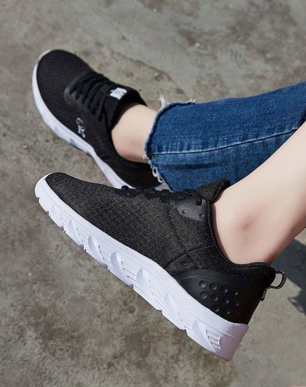 Black Round Head Flat Portable Women's Sport Shoes