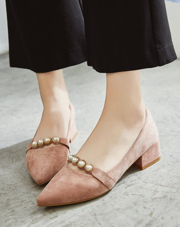 Pink Pointed Middle Heel Women's Pumps