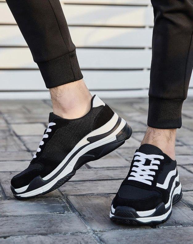 Black Round Head Men's Cotton Shoes