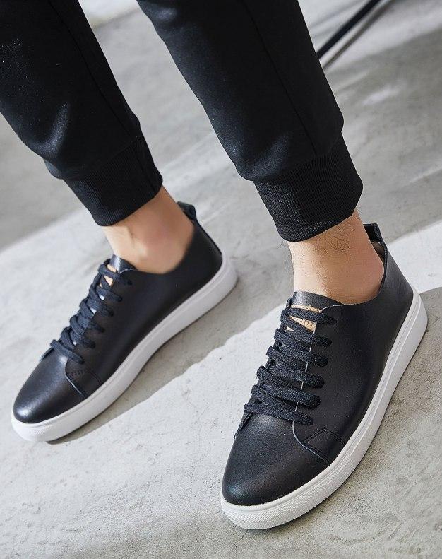 Black Round Head Anti Skidding Men's Casual Shoes