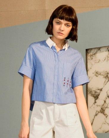 Blue Contrast Color Short Sleeve Standard Women's Shirt