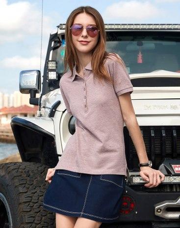 Plain Lapel Short Sleeve Standard Women's Polo