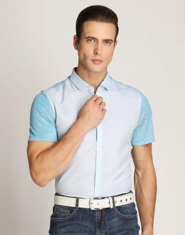 Blue Plain Short Sleeve Standard Men's T-Shirt