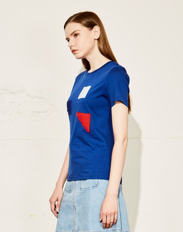 블루 여성 티셔츠