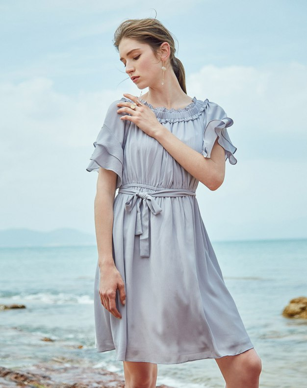 Blue Off Neckline Sleeve Loose Women's Dress