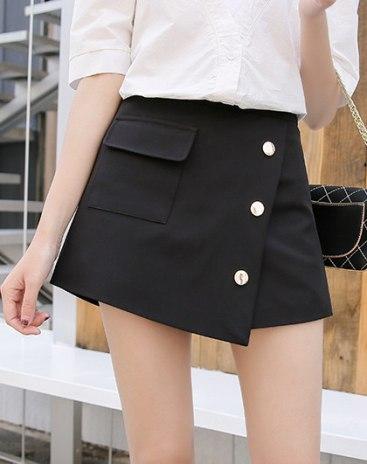 Black High Waist Short Women's Pants