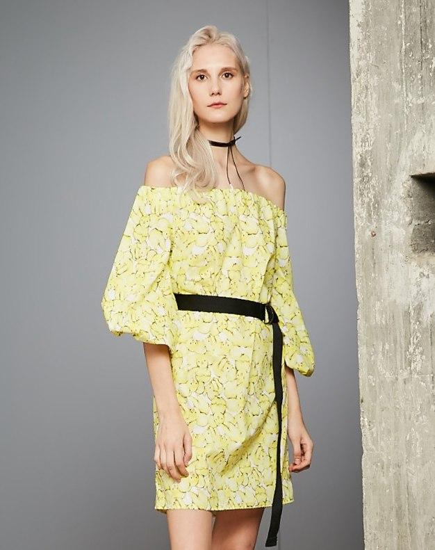 옐로우 반소매 A라인 여성 드레스