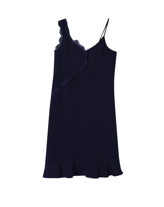 Blue V Neck Sleeveless 3/4 Length Standard Women's Dress