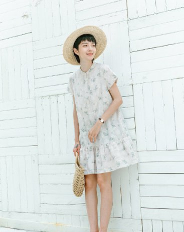 Apricot Half high collar Sleeve Basic Short Dress A Line Standard Women's Dress