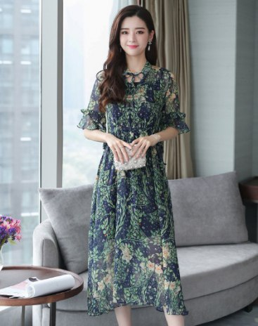 Green Strappy Neck Half Sleeve High Waist Long Skirt Pleated Fitted Women's Dress