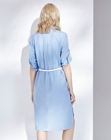 Blue Square Neck Cropped Sleeve 3/4 Length Women's Dress