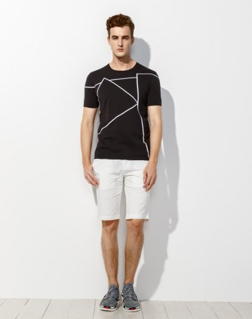 Black  Round Neck Short Sleeve Fitted Men's T-Shirt