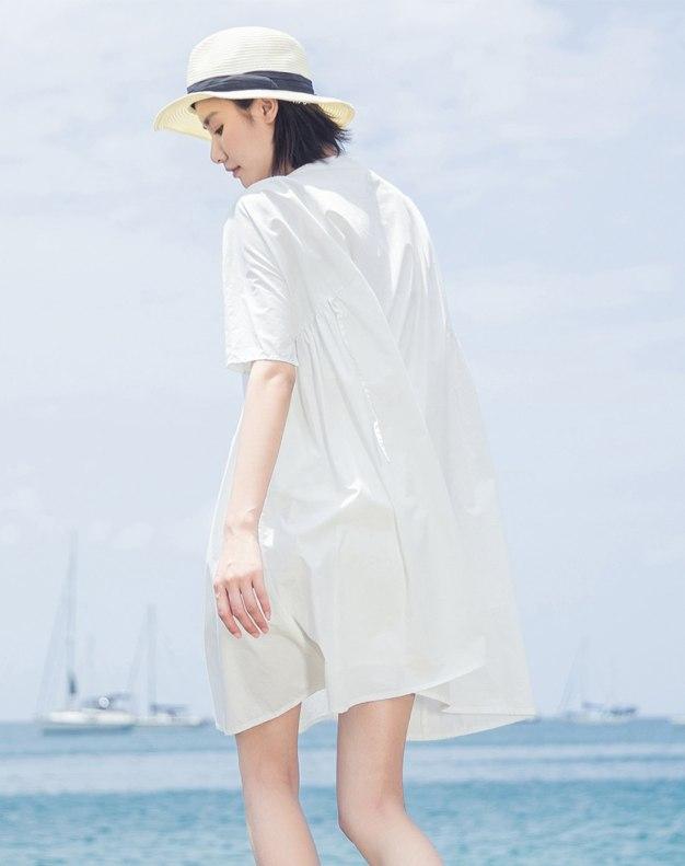 White Square Neck High Waist 3/4 Length Women's Dress