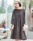 Gray Round Neck Sleeve Long Loose Women's Dress