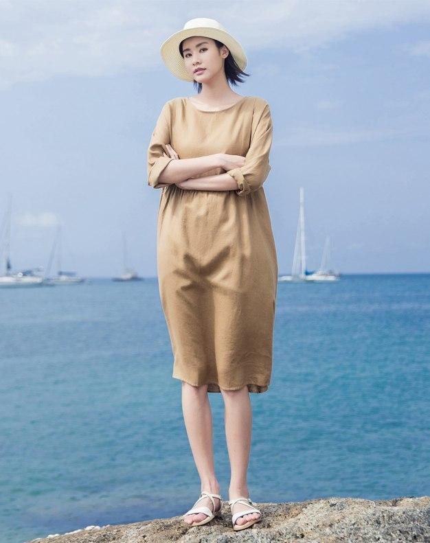 Round Neck Long Sleeve 3/4 Length Loose Women's Dress