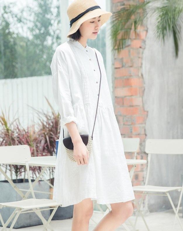 White Stand Collar Long Sleeve 3/4 Length Women's Dress