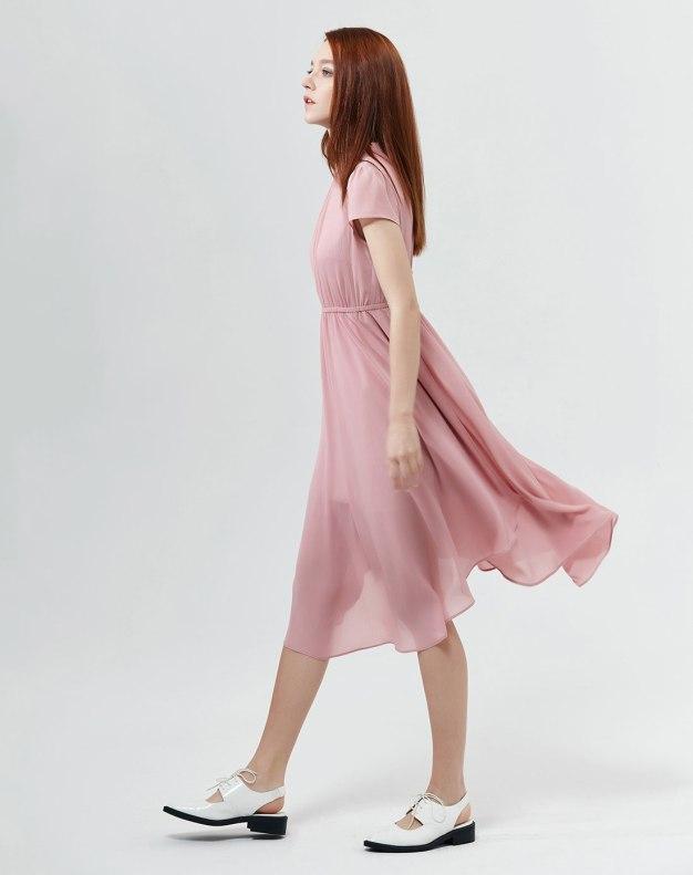 Purple Round Neck High Waist A Line Shaped Women's Dress