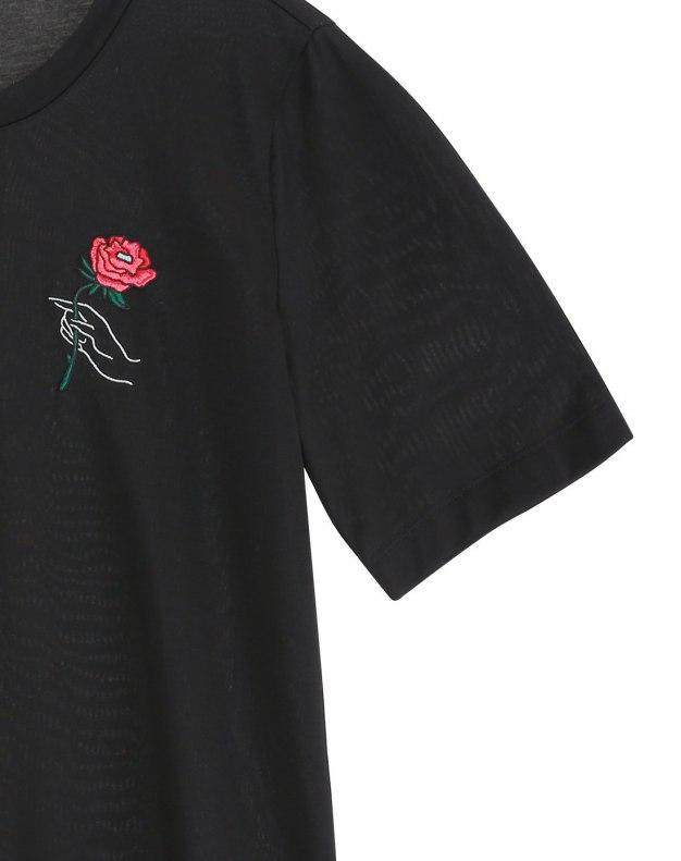 블랙 꽃 반팔 표준 여성 티셔츠