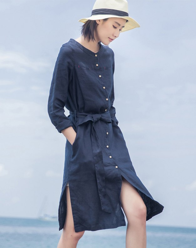 Indigo Stand Collar Sleeve Long Fitted Women's Dress