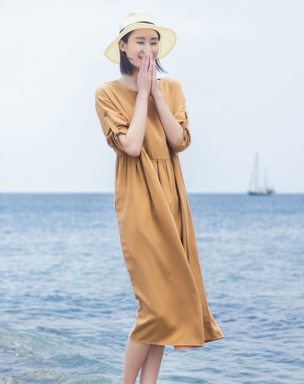 Round Neck Half Sleeve Long Fitted Women's Dress