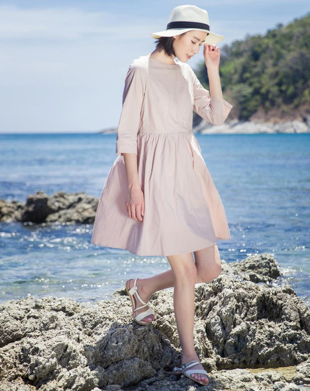 Pink Round Neck Sleeve 3/4 Length Women's Dress