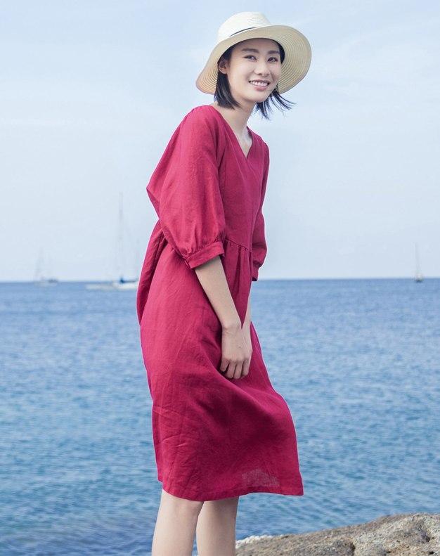 Red V Neck Half Sleeve Long Loose Women's Dress