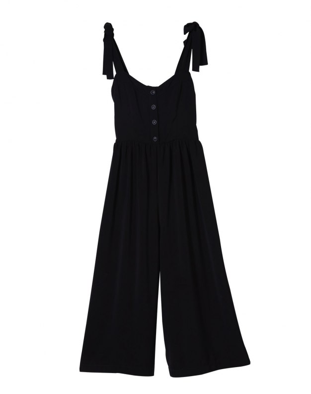 Black Pleates Women's Rompers