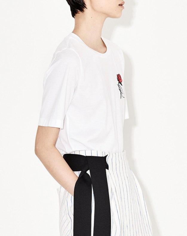 화이트 꽃 반팔 표준 여성 티셔츠