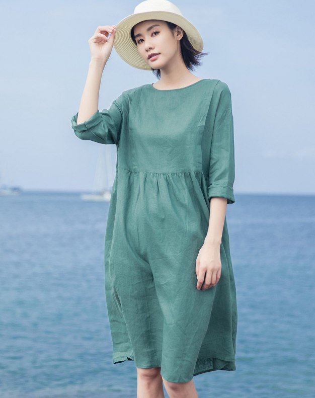 Green Round Neck Long Sleeve 3/4 Length Loose Women's Dress