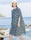 Green Round Neck Half Sleeve Long Fitted Women's Dress