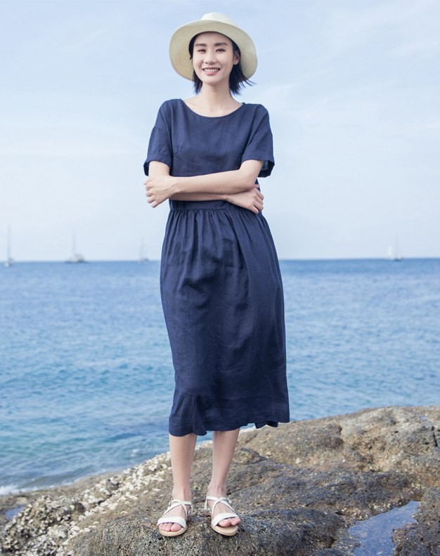 Indigo Round Neck Short Sleeve Long Standard Women's Dress