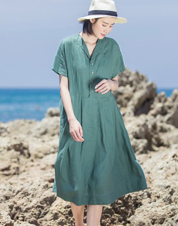 Green Lapel Short Sleeve Long Fitted Women's Dress