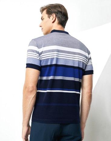 Indigo Stripes Lapel Short Sleeve Standard Men's Polo