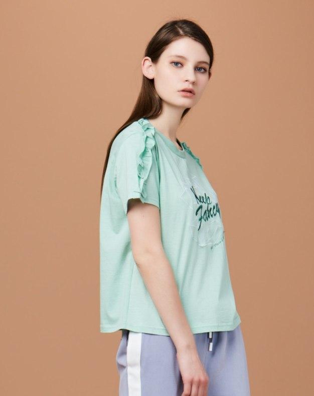 그린 알파벳 반팔 표준 여성 티셔츠
