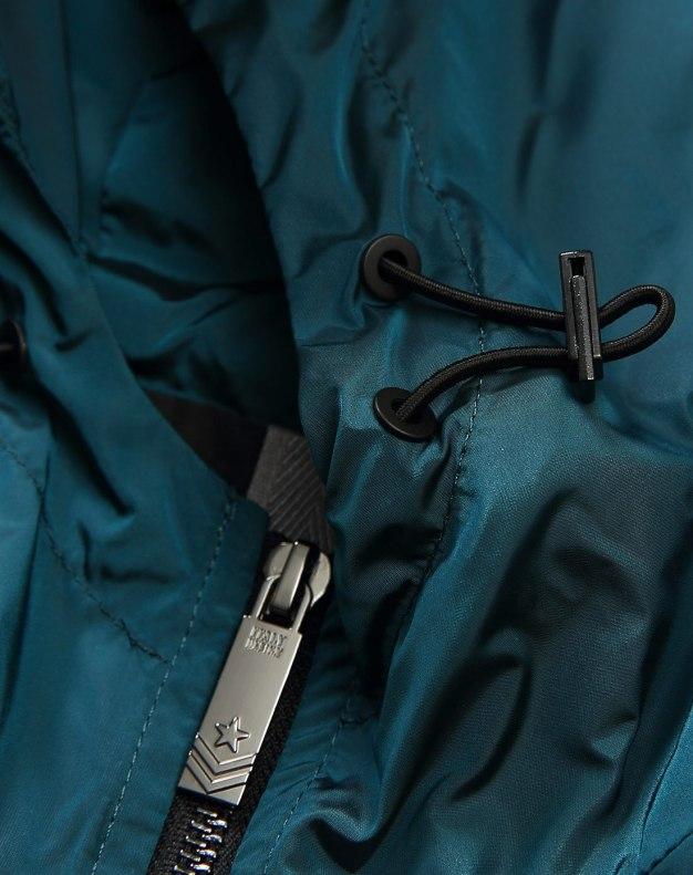 Green Hidden Hood Long Sleeve Fitted Men's Jacket