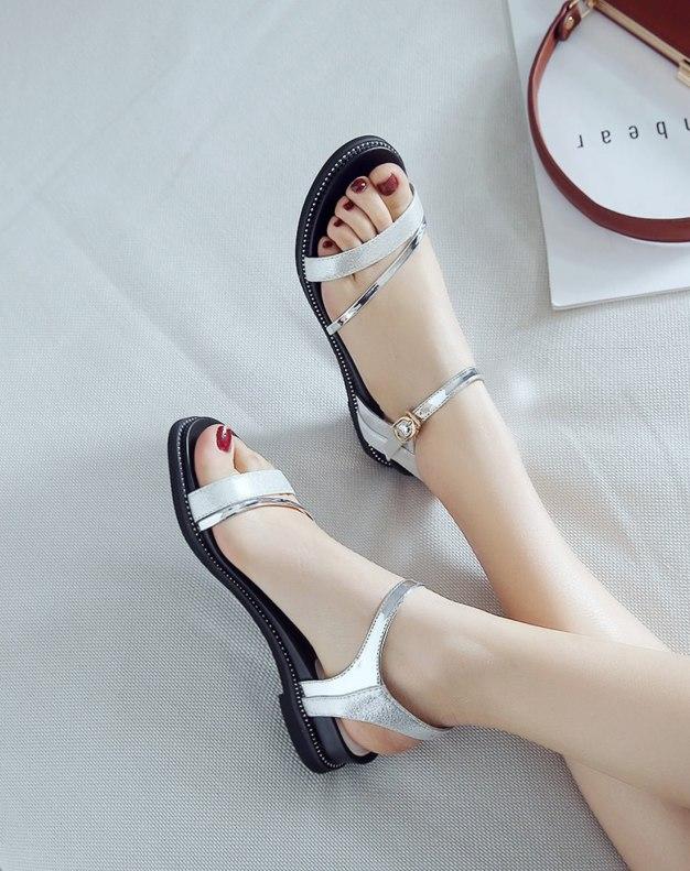Silver Flat Women's Sandals